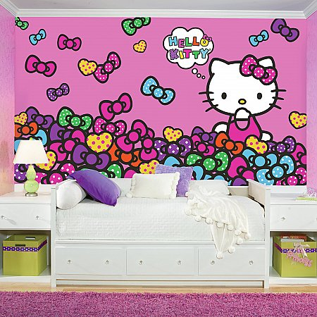 HELLO KITTY BOW-TASTIC XL MURAL ROOMSETTING