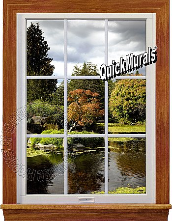Serenity Lake Window 1-Piece Peel and Stick Canvas Wall Mural