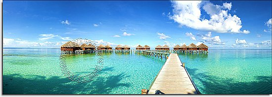 Maldives Beach Resort Panoramic One-piece Peel & Stick Canvas Wall Mural