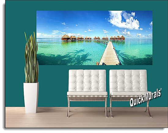 Maldives Beach Resort Panoramic One-piece Peel & Stick Canvas Wall Mural Roomsetting