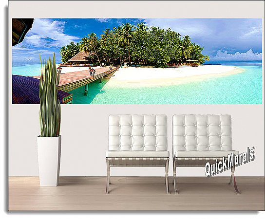 Mirihi Island Bridge Panoramic One-piece Peel & Stick Canvas Wall Mural Roomsetting