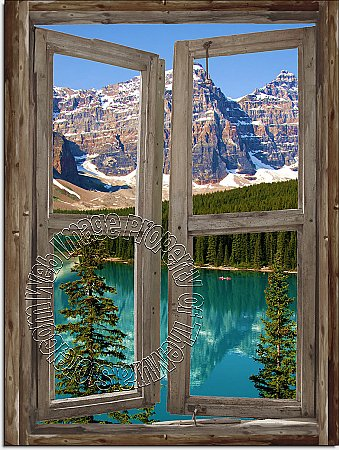 Mountain Cabin Window Mural #2