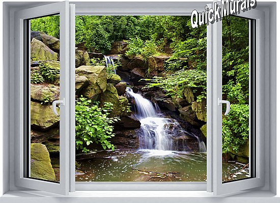 Mountain Waterfall Window 1-Piece Peel and Stick Mural Roomsetting