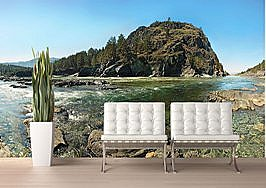 Mountain River Peel and Stick Wall Mural roomsetting
