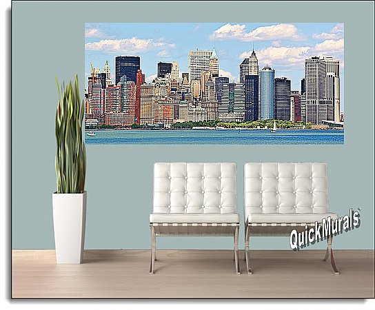 NYC Panoramic (Color) One-piece Peel & Stick Canvas Wall Mural