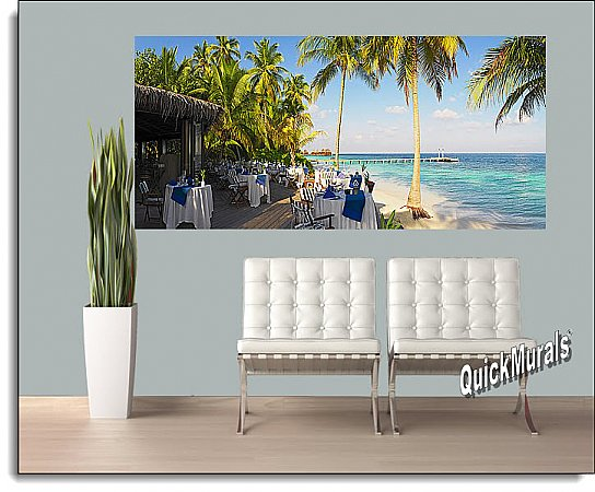 Oceanside Cafe Panoramic Mural roomsetting