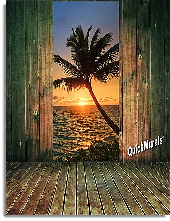 Palm Beach Sunset Door Mural Roomsetting