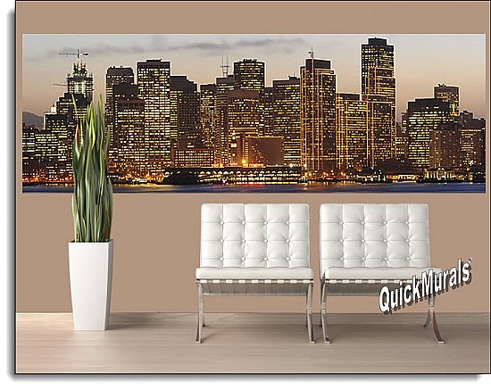 San Francisco Sunset One-piece Peel & Stick Canvas Wall Mural Roomsetting