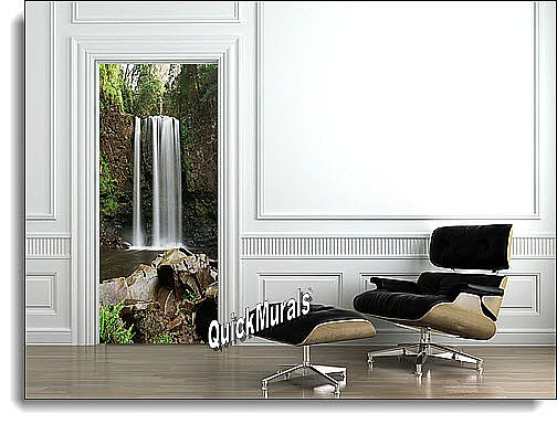 Serenity Waterfall Door 1-Piece Peel & Stick Canvas Wall Mural