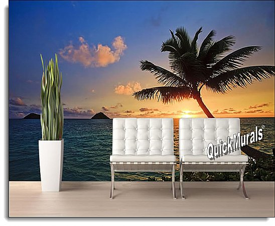 Tahiti Sunset Peel & Stick Canvas Wall Mural Roomsetting