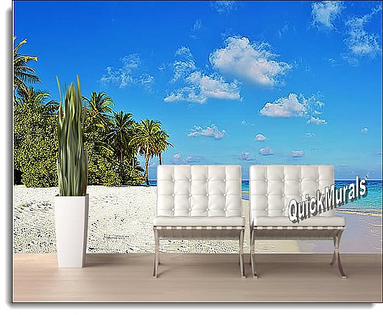 Tropical Escape Peel & Stick Canvas Wall Mural Roomsetting