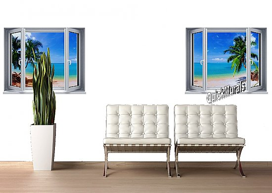 Tropical Beach Window #2 One-Piece Canvas Peel and Stick Wall Mural