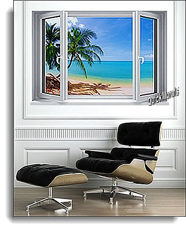 Tropical Beach Window #1 One-Piece Canvas Peel and Stick Wall Mural Roomsetting