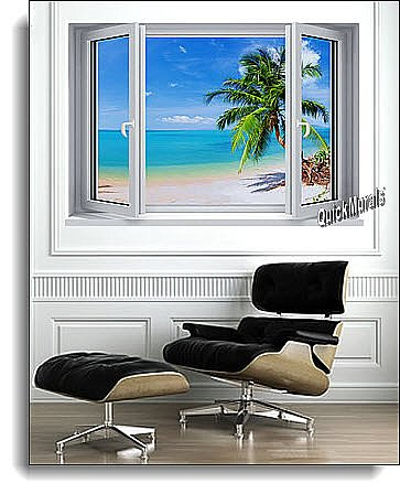 Tropical Beach Window #2 One-Piece Canvas Peel and Stick Wall Mural Roomsetting