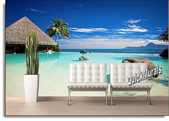 Turtle Island, Fiji Peel & Stick Canvas Wall Mural Roomsetting