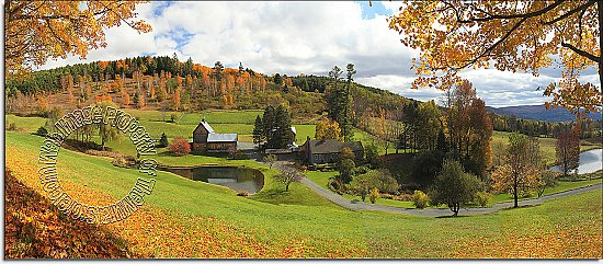 Vermont Farmhouse Panoramic One-piece Peel & Stick Canvas Wall Mural