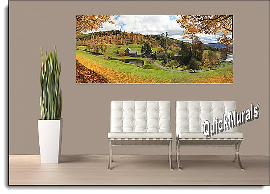 Vermont Farmhouse Panoramic One-piece Peel & Stick Canvas Wall Mural Roomsetting