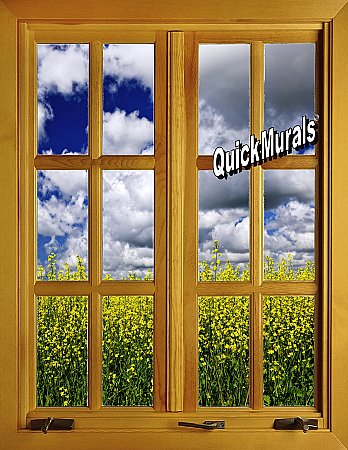 Flower Field Window 2 (Closed) Piece Peel and Stick Canvas Wall Mural