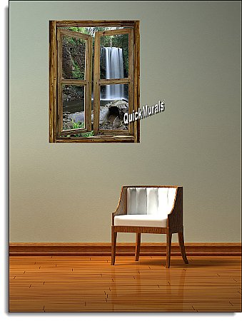 Waterfall Cabin Window Mural #2 Roomsetting