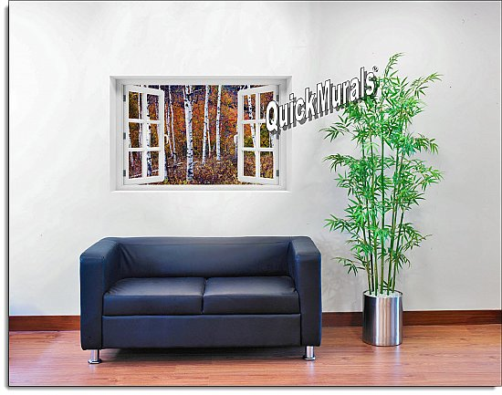 Autumn Birches Window Mural Roomsetting