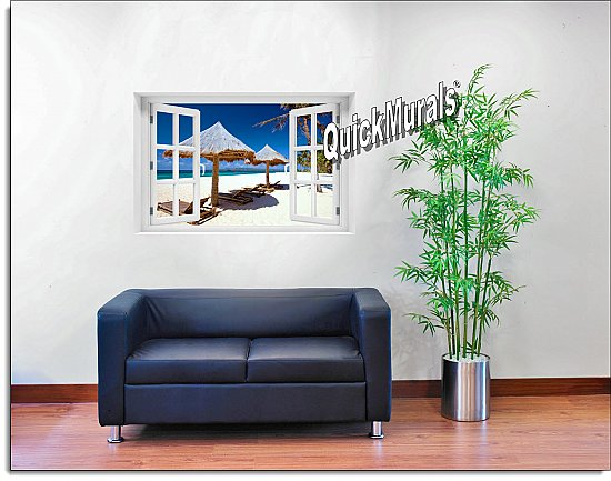 Beach Chairs Window Mural Roomsetting