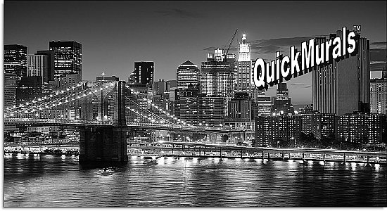 Brooklyn Bridge Black & White One-piece Peel & Stick Canvas Wall Mural