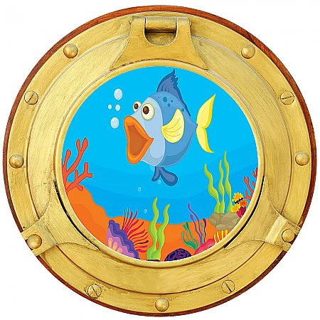 Cartoon Porthole #1 Peel and Stick Canvas Wall Mural
