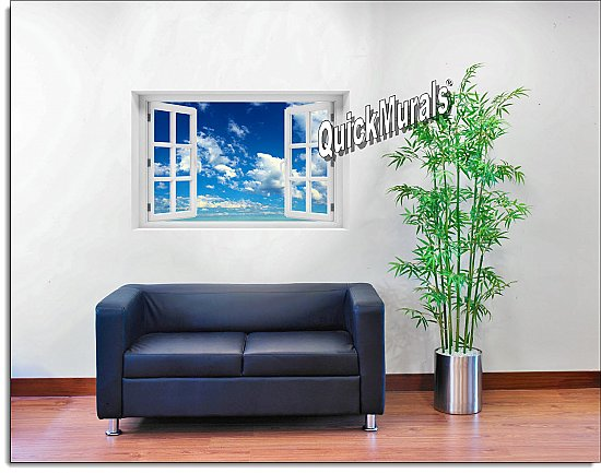 Clouds Window Mural roomsetting