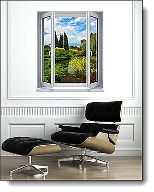 Garden Lake Window 1-Piece Peel and Stick Wall Mural Roomsetting