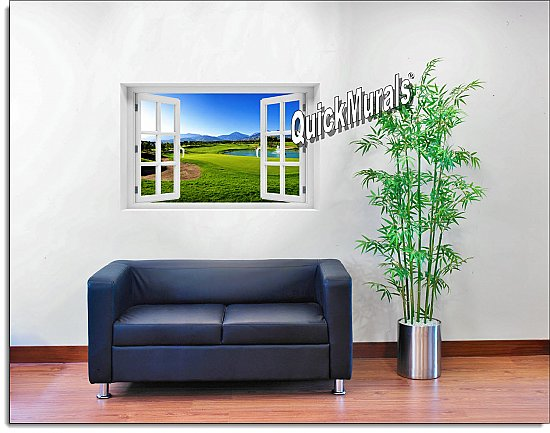 Putting Green Window Mural roomsetting