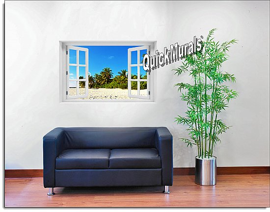 Island Getaway Window Mural Roomsetting