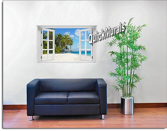 Island Vacation Window Mural Roomsetting