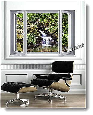 Mountain Waterfall Window 1-Piece Peel and Stick Mural