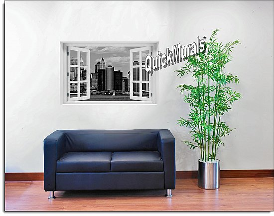 New York City Black and White #1 Window Mural Roomsetting