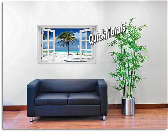 Palm Tree Window Mural Roomsetting