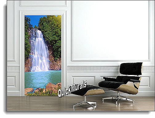 Rainbow Waterfall 1-piece Peel & Stick Door Mural
