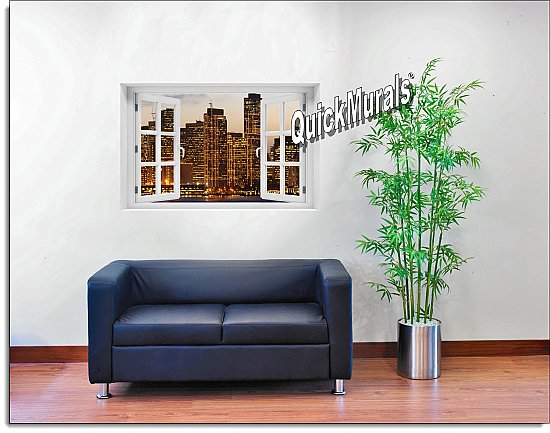 San Francisco Skyline Window mural #2 Roomsetting