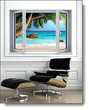 Secluded Beach Window 1-Piece Peel and Stick Canvas Mural