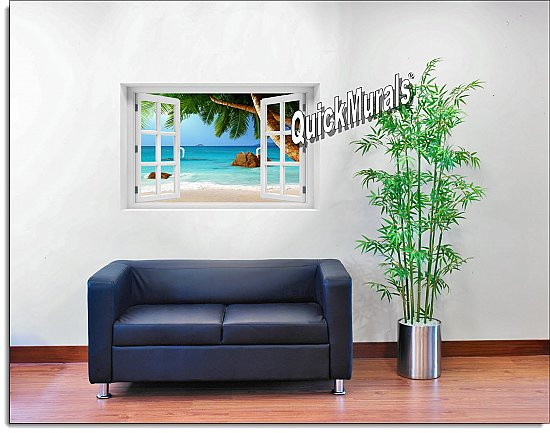 Secluded Beach Window Mural Roomsetting
