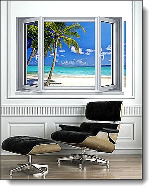 Tropical Ocean Window 1-Piece Peel and Stick Canvas Mural Roomsetting
