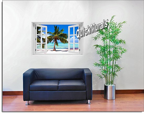 Tropical Beach Window Mural Roomsetting