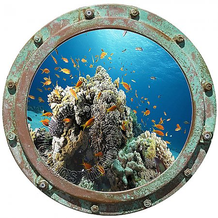 Undersea Porthole #4 Peel and Stick Canvas Wall Mural