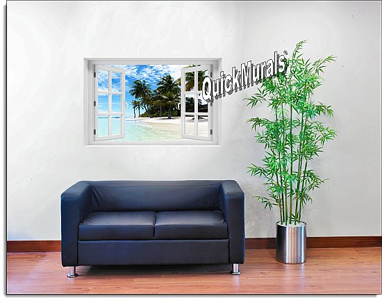 Waikiki Beach Hawaii Window Mural Roomsetting