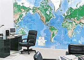 Deluxe Executive Laminated world map wall mural c900