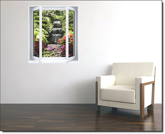 Floral Waterfall Window 1-Piece Peel and Stick Canvas Wall Mural