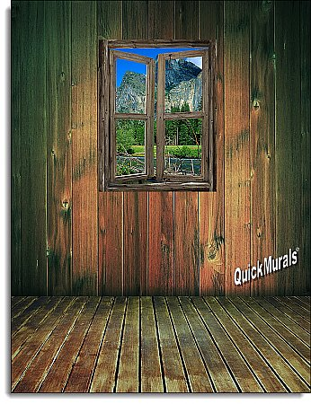Mountain Cabin Window #3 One-piece Peel and Stick Canvas Wall Mural
