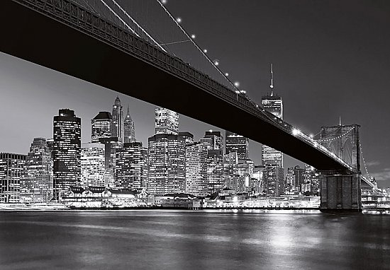 Manhattan Skyline Wall Mural WG140 Black and White