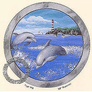 Dolphin Porthole Mural 7057-865M