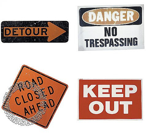 4 pack Precut Signs Mural