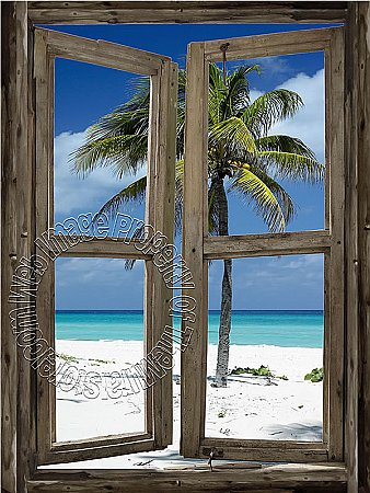 Beach Cabin Window Mural #2 One-piece Peel & Stick Canvas Wall Mural